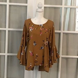 Lc Camel color floral blouse.